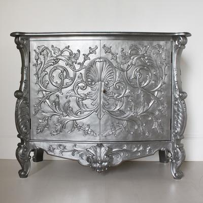 White Baroque Cupboard Carved Design