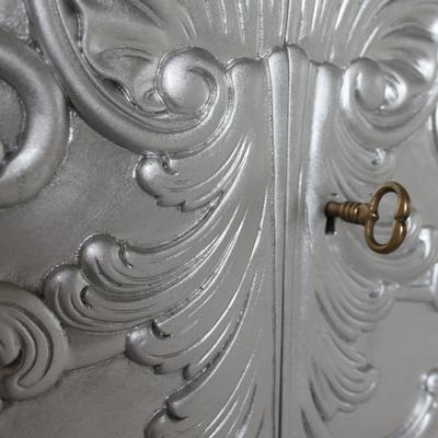 White Baroque Cupboard Carved Design image 5