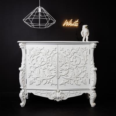 White Baroque Cupboard Carved Design image 8