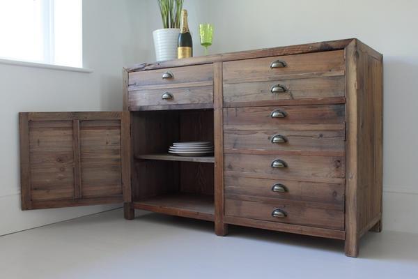 Double Rustic Pine Storage Unit image 2