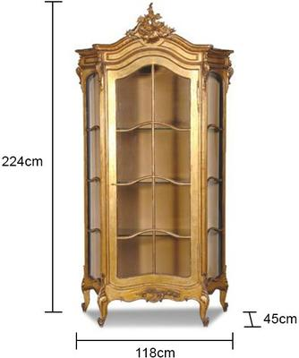 Gold Showcase Cabinet French Style image 2