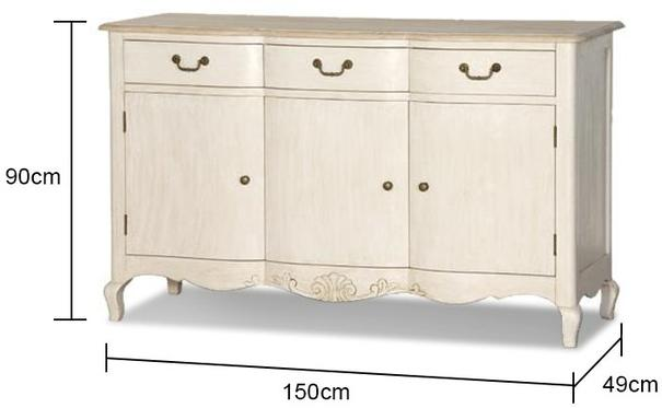 Country French Sideboard Bowed Curved Legs image 2