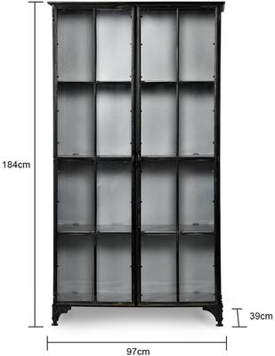 Large Metal Display Cabinet Distressed with 3 Shelves image 2