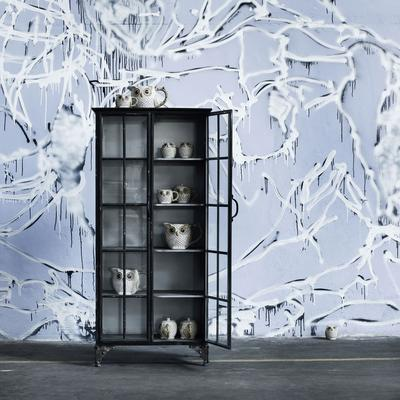Large Metal Display Cabinet Distressed with 3 Shelves image 3