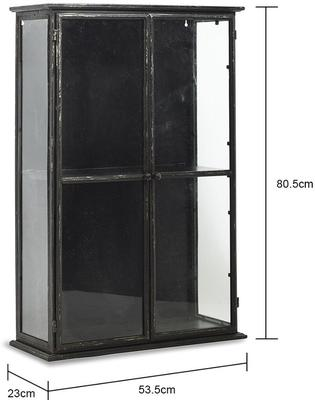 Glass Display Cabinet with Distressed Black Metal Frame image 2