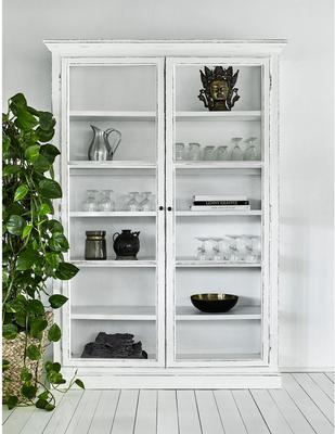 Large Rustic Glass Cabinet in Black or Cream