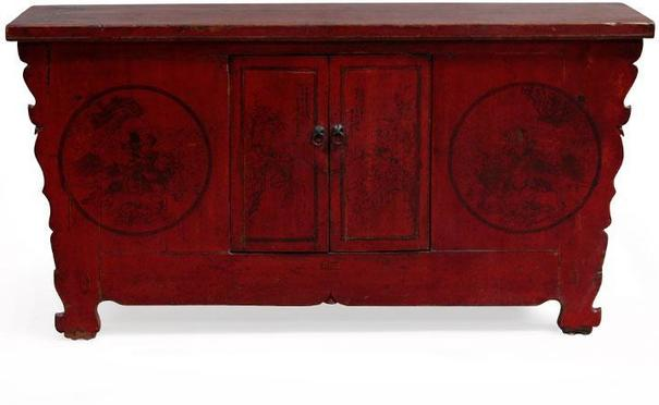 Red Lacquer Painted Sideboard image 2