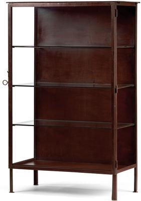 Metal Frame Display Cabinet Brown with 3 Glass Shelves