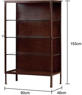 Metal Frame Display Cabinet Brown with 3 Glass Shelves image 2