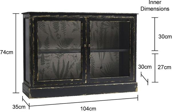 Distressed Black Low Cabinet with One Shelf image 2