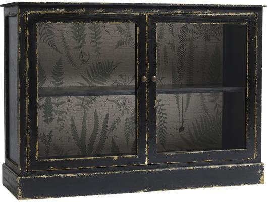 Distressed Black Low Cabinet with One Shelf