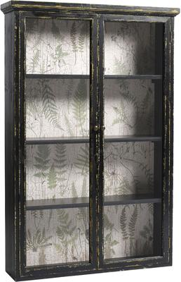 Distressed Black Cabinet with Double Glass Doors
