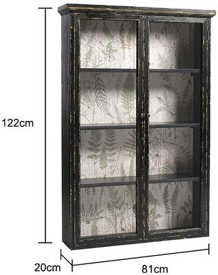 Distressed Black Cabinet with Double Glass Doors image 2