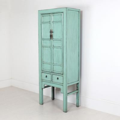 Tall Blue Distressed Cabinet 2 Door 2 Drawer
