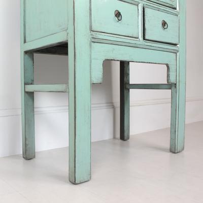 Tall Blue Distressed Cabinet 2 Door 2 Drawer image 2
