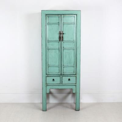Tall Blue Distressed Cabinet 2 Door 2 Drawer image 3