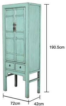 Tall Blue Distressed Cabinet 2 Door 2 Drawer image 4