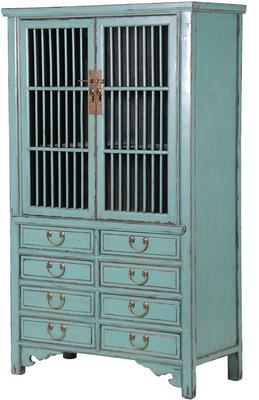 Eight Drawer Distressed Cabinet Blue Vintage image 3