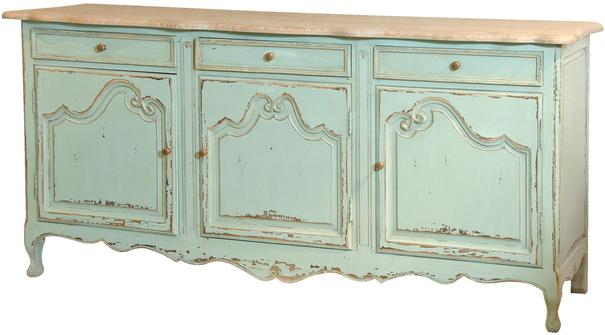Turquoise Three Door French Sideboard