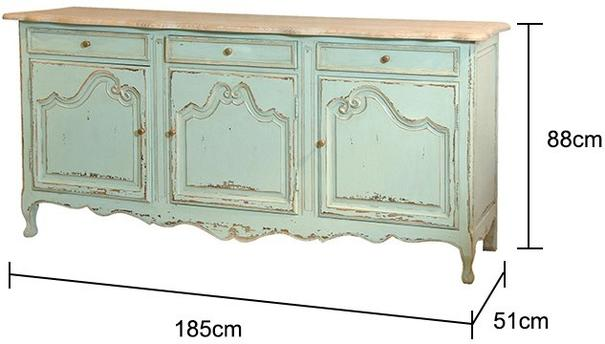 Turquoise Three Door French Sideboard image 2