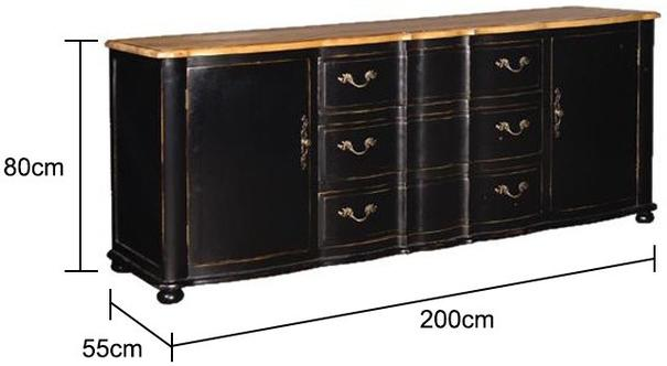 Large Black Sideboard Distressed with Natural Wood Top image 2