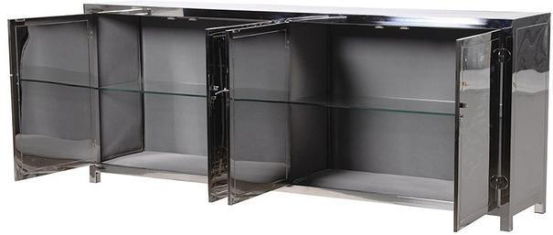 Polished Silver Chinese Sideboard High Gloss image 3
