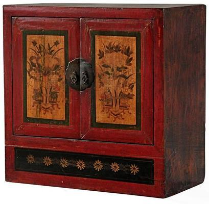 Mongolian Painted Two Door Cabinet