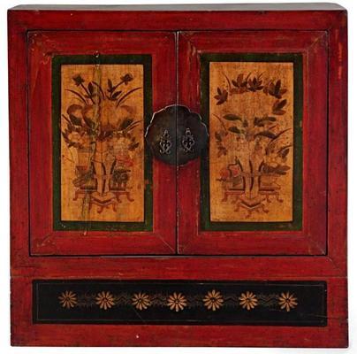 Mongolian Painted Two Door Cabinet image 2