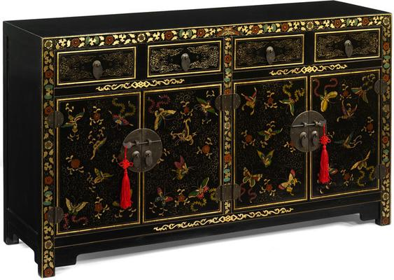Shanxi Butterfly Sideboard, Black Lacquer