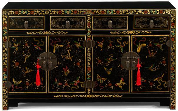 Shanxi Butterfly Sideboard, Black Lacquer image 2