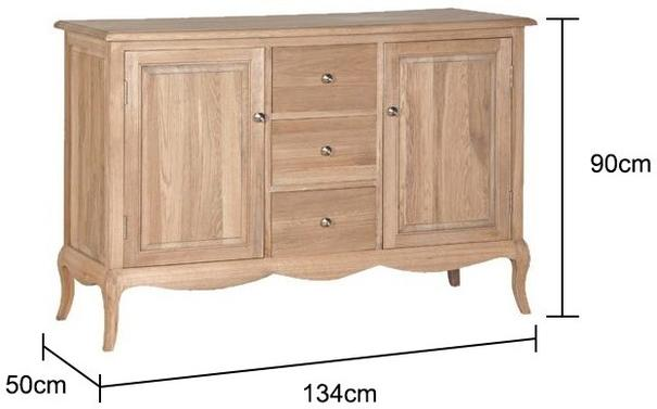 Oak Sideboard French-style 3 drawers 2 doors image 2