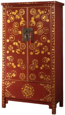 Gold Decorated Wedding Cabinet, Red Lacquer