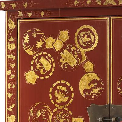Gold Decorated Wedding Cabinet, Red Lacquer image 4
