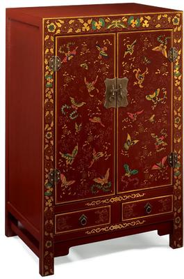 Shanxi Butterfly Cabinet, Red Lacquer