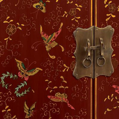 Shanxi Butterfly Cabinet, Red Lacquer image 2