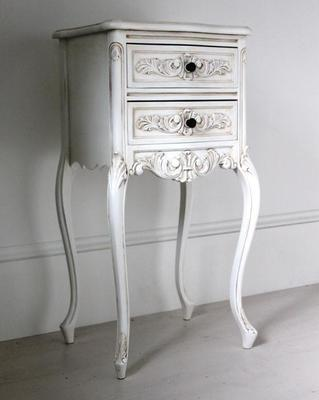 Tall Antique White Bedside Cabinet