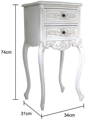 Tall Antique White Bedside Cabinet image 2