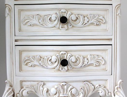 Tall Antique White Bedside Cabinet image 3