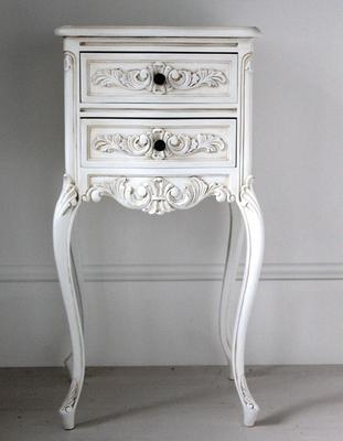 Tall Antique White Bedside Cabinet image 4