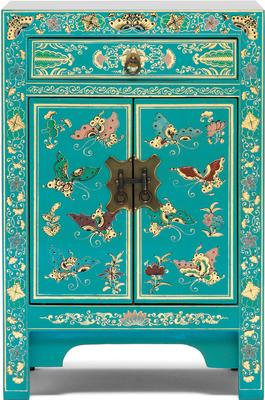 Small Decorated Classic Chinese Cabinet - Blue image 2