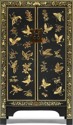 Medium Decorated Classic Chinese Cabinet - Black image 2