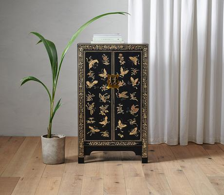Medium Decorated Classic Chinese Cabinet - Black image 4