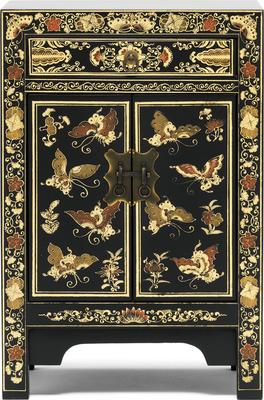 Small Decorated Classic Chinese Cabinet - Black image 2