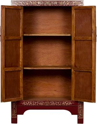 Medium Classic Decorated Chinese Cabinet - Red image 4