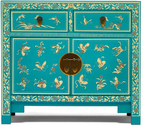 Oriental decorated blue sideboard image 2