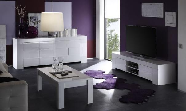 Fano High Sideboard White Gloss Lacquered with LED Spotlight image 5