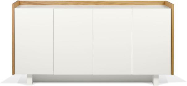 TemaHome Skin Sideboard Four Doors Matt White with Oak Surround
