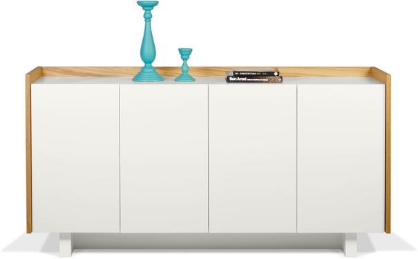 TemaHome Skin Sideboard Four Doors Matt White with Oak Surround image 3