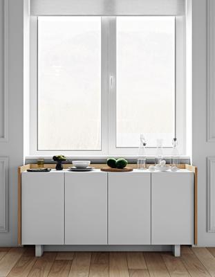 TemaHome Skin Sideboard Four Doors Matt White with Oak Surround image 8
