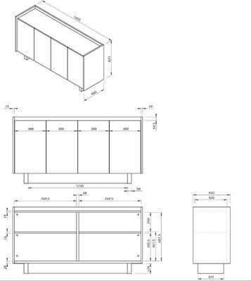 TemaHome Skin Sideboard Four Doors Matt White with Oak Surround image 9